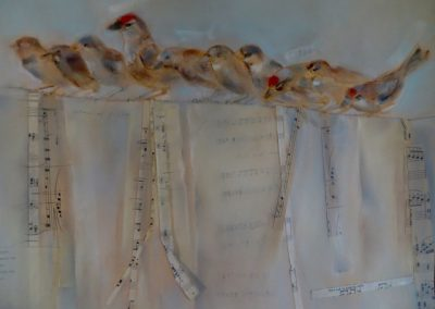 "Charm of Finches /  Pastel & Collage / 19"" x 22"""