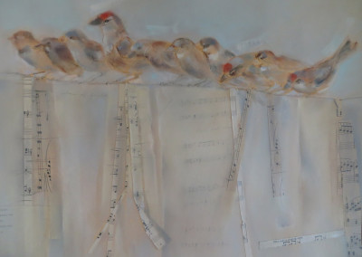 "Charm of Finches / Soft Pastel & Collage / 19"" x 22"" - $2200"