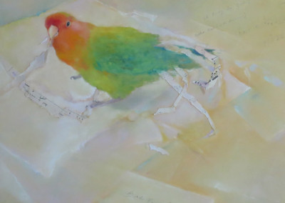 "Bird Feathers / Soft Pastel & Collage / 17"" x 20"" - $1800"