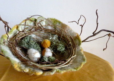 Nesting by Nature    Felting and found objects      4 x 12""