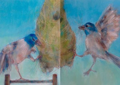 "Shared Nesting /Mixed Media / 12"" x 24"" / Diptych / [SOLD]"