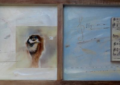 "Mixed Media Explorations / Flight Patterns / Mixed Media 12 x 36"" / SOLD"